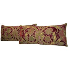 17th Century Pair of Antique Velvet Embroidery Pillows