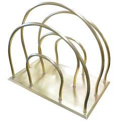 Art Deco Moderne Magazine Solid Brass Rack