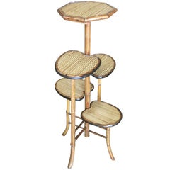 "Bamboo ""Lily Pad"" Five-Tier Pedestal Floor Stand"