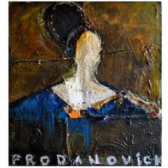Large Mixed-Media Abstract Portrait by Artist Vladimir Prodanovich