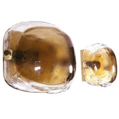Pair of Amber Murano Glass Wall Sconces by Kaiser, Germany