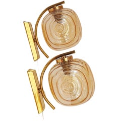 Pair of Amber Glass Wall Sconces by Glashütte Limburg, Germany, 1960s