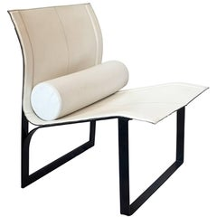 Italian Modernist White Leather Chair, 1980s