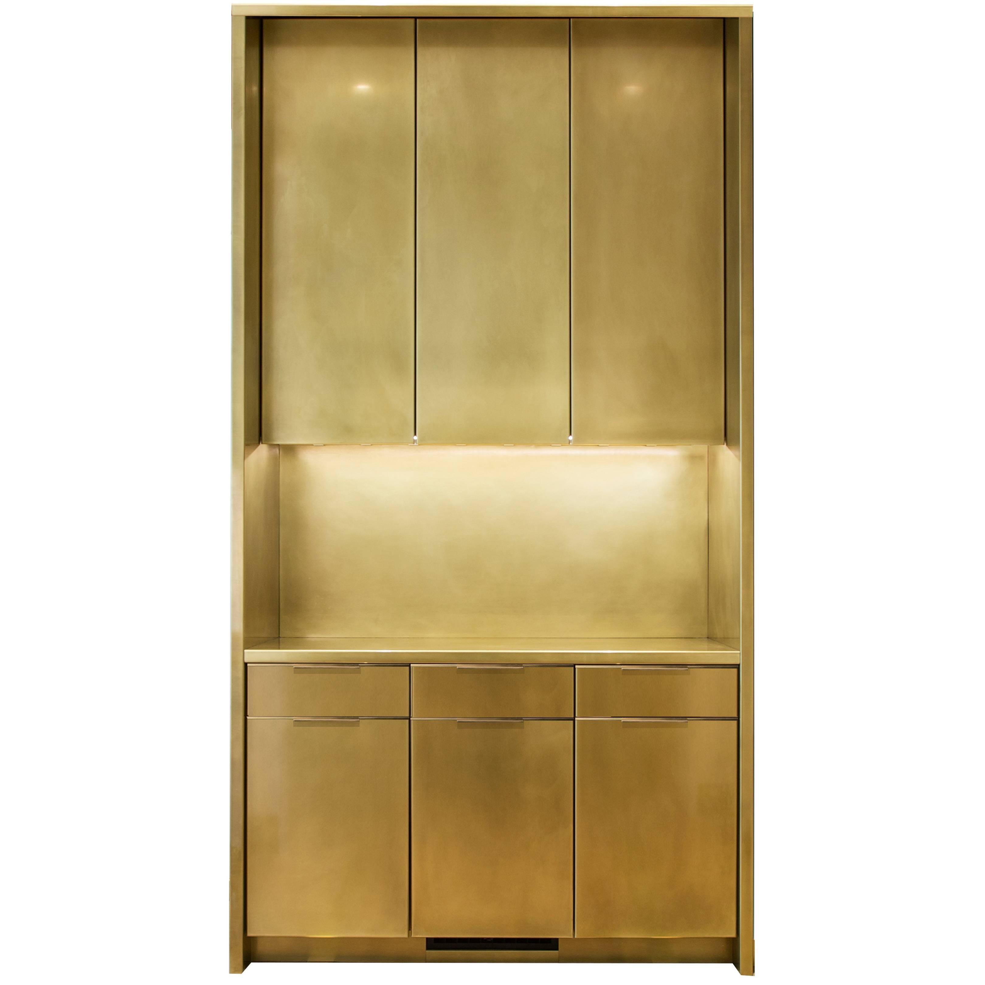 Amunealu0027s Brass Kitchen Cabinets With Warm Patina Finish And Custom Brass  Pulls 1