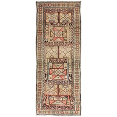 Tribal Antique Serab Runner with Colorful Geometric Pattern