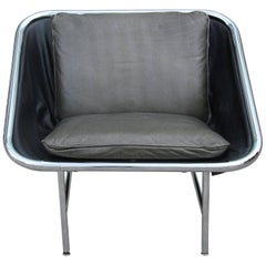 Modern George Nelson for Herman Miller Chrome and Leather Sling Chair IBM