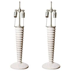 Pair of White-Washed Turned Wood Lamps
