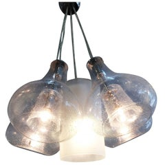 Hand-blown Five Pendant Bubble Glass Hanging Chandelier