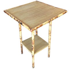 Restored Tiger Bamboo Pedestal Side Table with Straight Legs