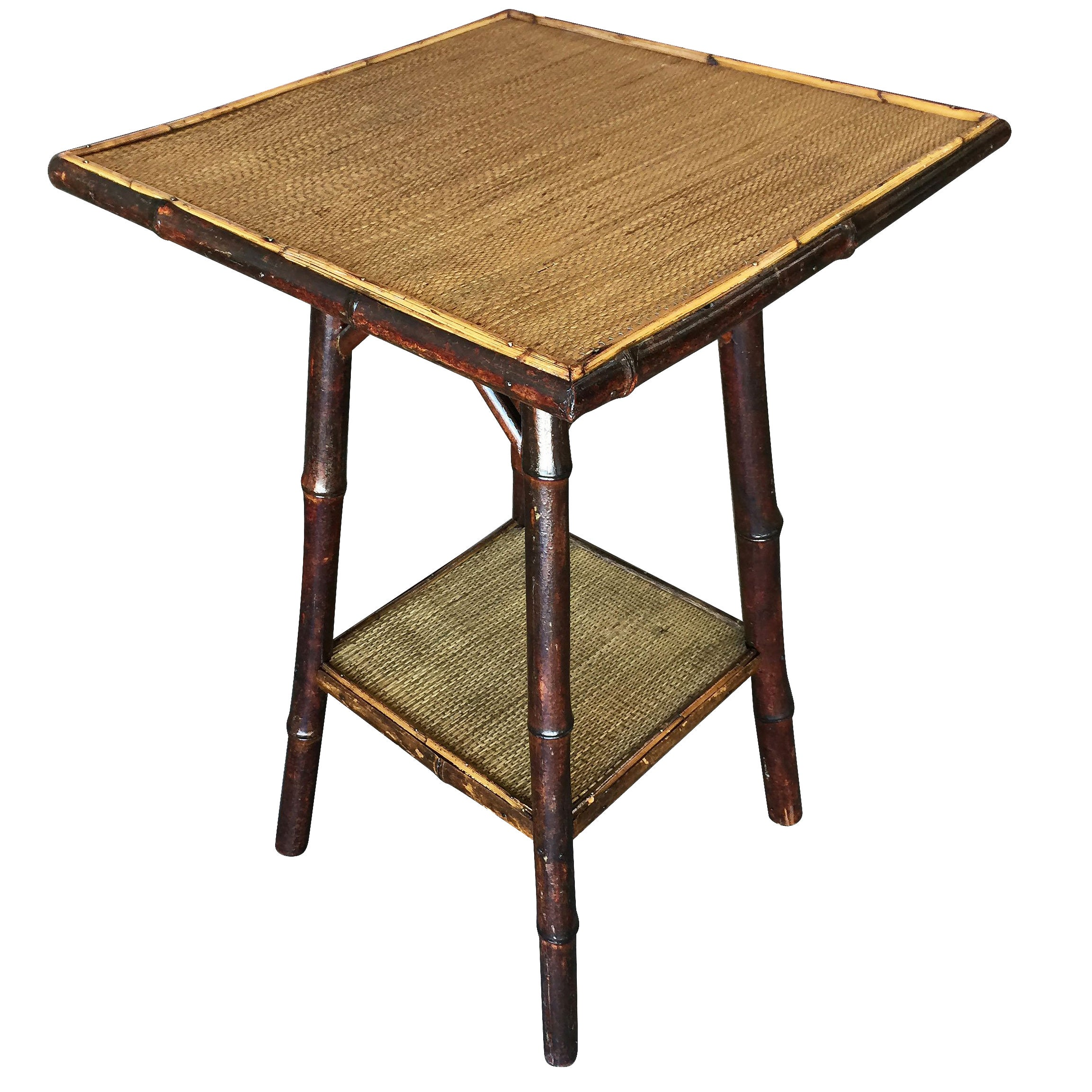 Restored Dark Stained Bamboo Pedestal Side Table with Bottom Shelf