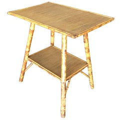 Restored Pedestal Side Table with Tiger Bamboo Frame with Bottom Shelf