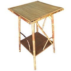 Restored Tiger Bamboo Pedestal Side Table with Organic Formed Accents
