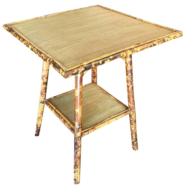 Restored Tiger Bamboo Pedestal Side Table with Large Top For Sale