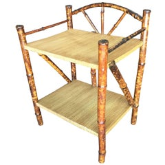 Restored Tiger Bamboo Two-Tier Short Shelf with Bottom Shelf
