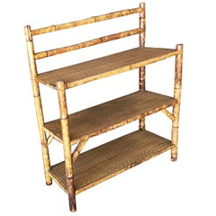 Restored Tiger Bamboo Three-Tier Book Shelve