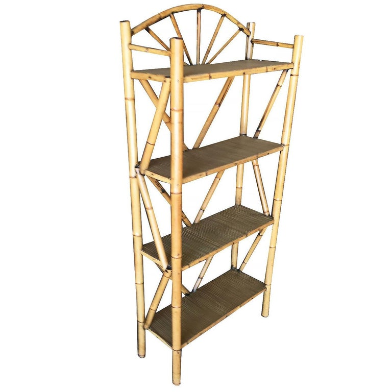 Tiger Bamboo Four-Tier Corner Shelf with Top Crown