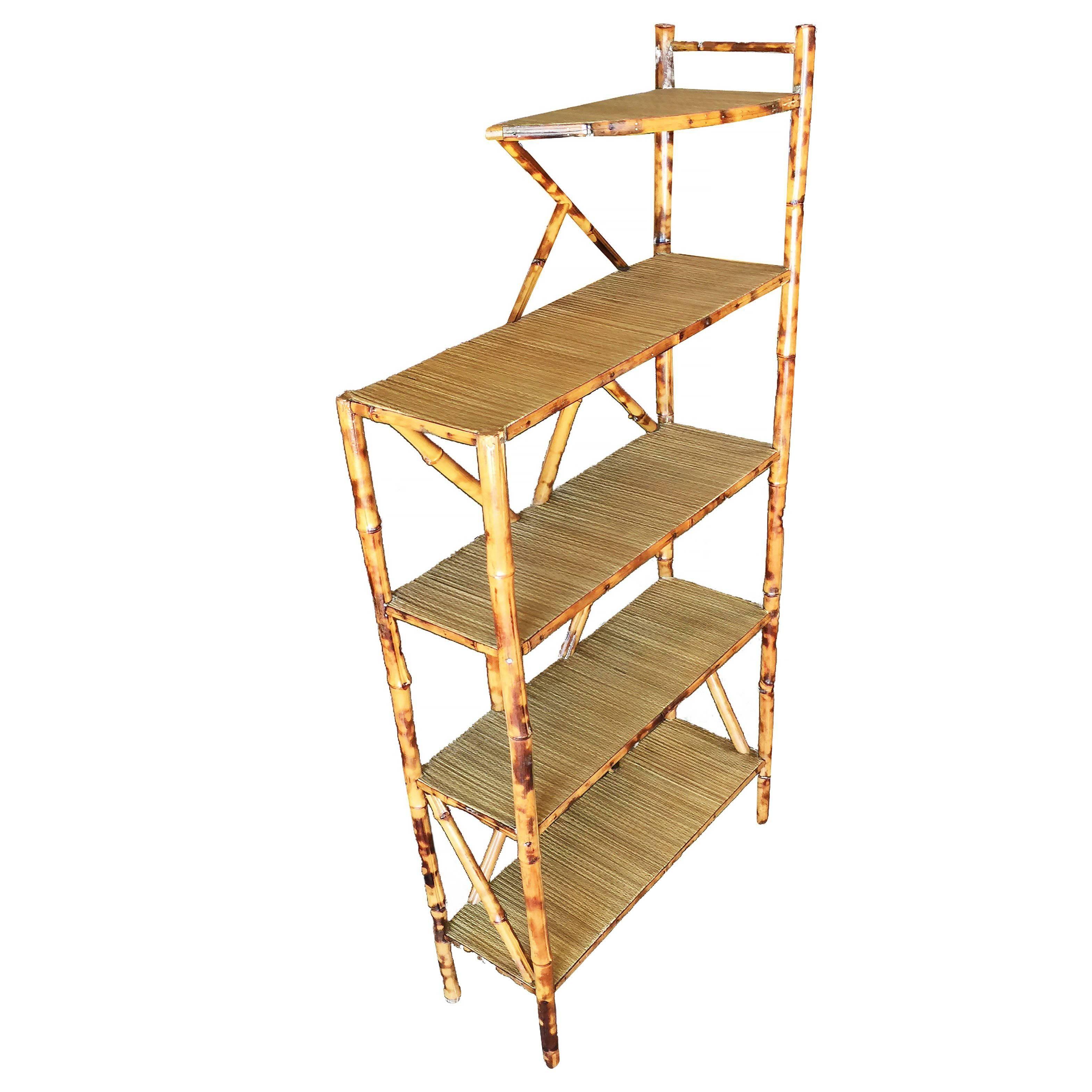 Restored Tiger Bamboo Five-Tier Book Shelf Etagere