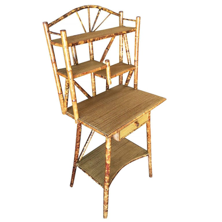 Restored Aesthetic Movement Tiger Bamboo Secretary Desk with Rice Mat Shelves