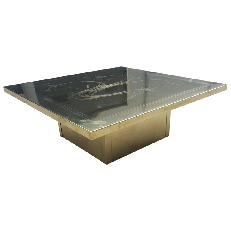 Full Brass Etched Coffee Table from the 1970s