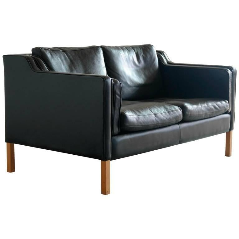 Børge Mogensen Model 2212 Style Two-Seat Sofa in Black Leather by Stouby