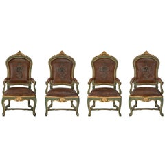 Set of Four Italian Mid-18th Century Roman Armchairs à Chassis