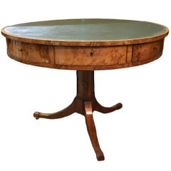 Karl Johan 19th Century Swedish Leather-Topped Center Table