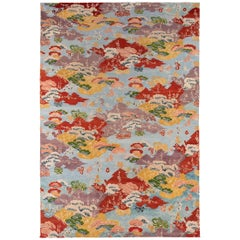 Multicolored Wool Area Rug with Eastern Motif