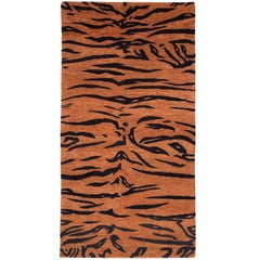 Antique Weave Abstract Tiger Area Rug in Wool