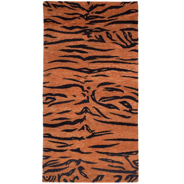 Antique Weave Abstract Tiger Area Rug In Wool At 1stdibs