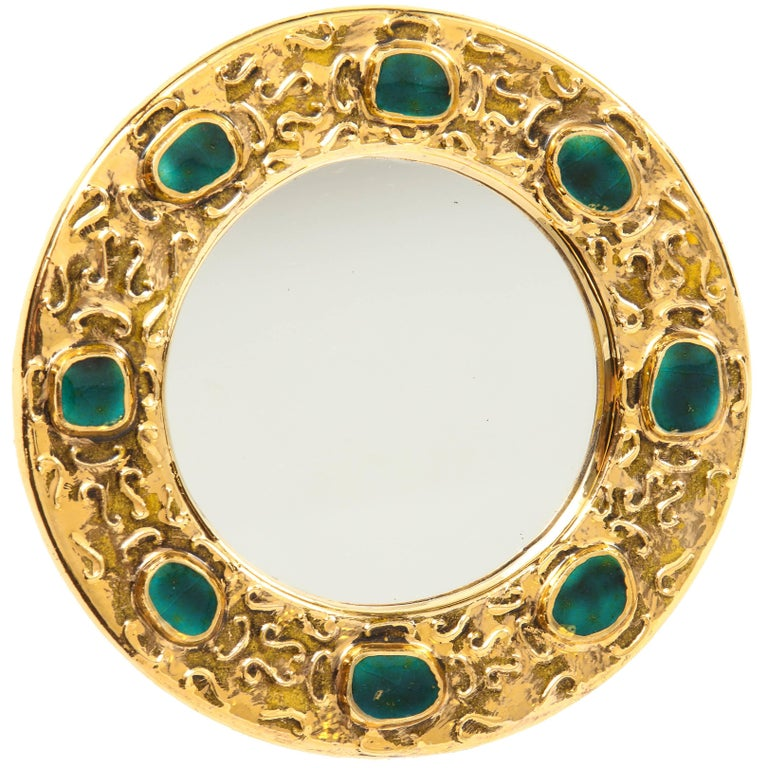 Francois Lembo Ceramic Mirror Gold Emerald Green Jeweled Signed, France, 1970s