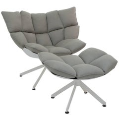 """Armchair """"Husk"""" with Stool by Manufacturer B&B Italia in Aluminium Finished"""