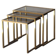 Midcentury Modern Rectangular Gold Brass Smoked Glass French Side Tables, 1960