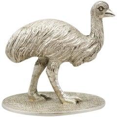 Silberguss-Figur eines Emus, Australien, 1890er Jahre