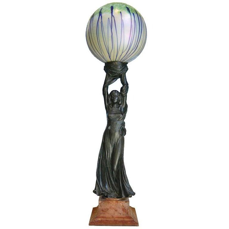 Art Nouveau Sculpture Lamp, 1901 by Gustav Gurschner