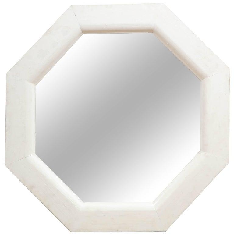 Vintage White Octagonal Mirror For Sale