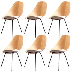 "Six Vittorio Nobili ""Medea Chairs"" with Black Leather Seat Cushions, Italy 1950s"