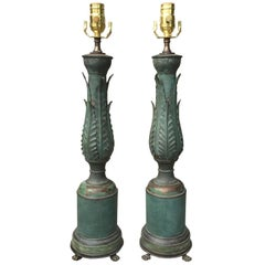 Pair of 1920s Neoclassical Tole Lamps with Acanthus Leaves and Lion Paw Feet