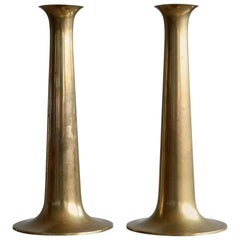 Pair of Torben Ørskov Brass Candlesticks Model Trumpet Danish Mid-Century