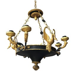 Early 19th Century Gilt Bronze Chandelier with Swans