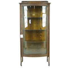 Vintage Display Antique China Cabinet Bow Front Quartersawn Oak