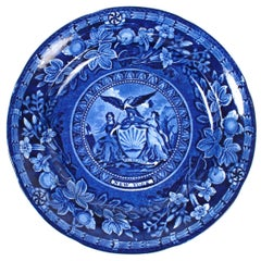 """New York Blue"" Staffordshire Plate by Thomas Mayer"