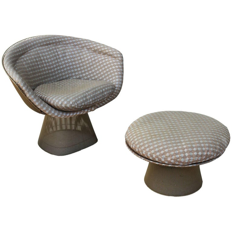 Modern Warren Platner Lounge Chair and Ottoman with Grey Finish Knoll