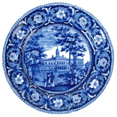 City Hall New York Blue Staffordshire Plate by J & W Ridgway