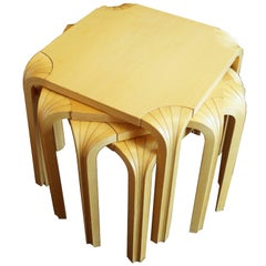 Two Pair of Alvar Aalto Vintage Fan Leg Nesting Stools or End Tables