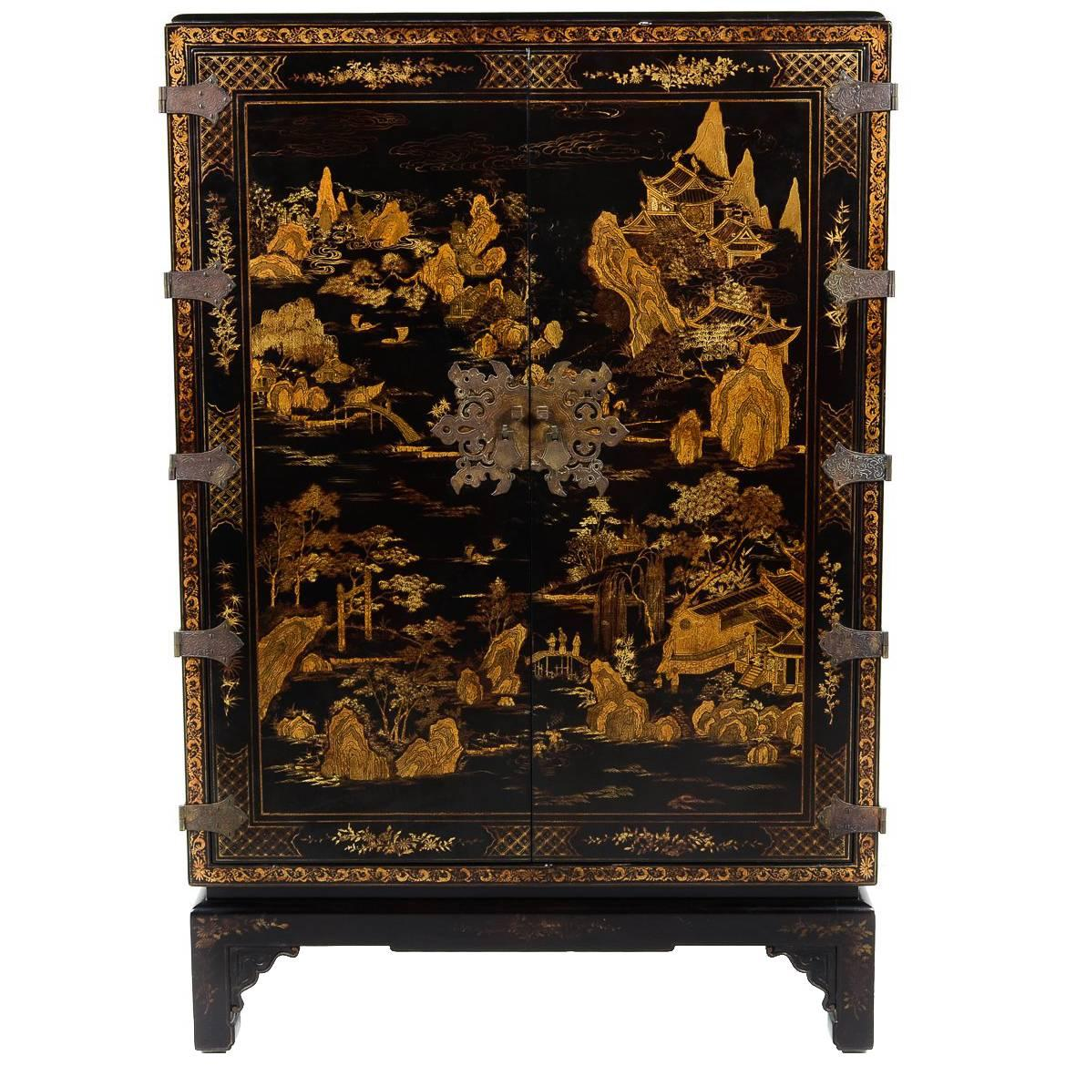 Mid Century Modern Black Lacquer Chinoiserie Cabinet At 1stdibs