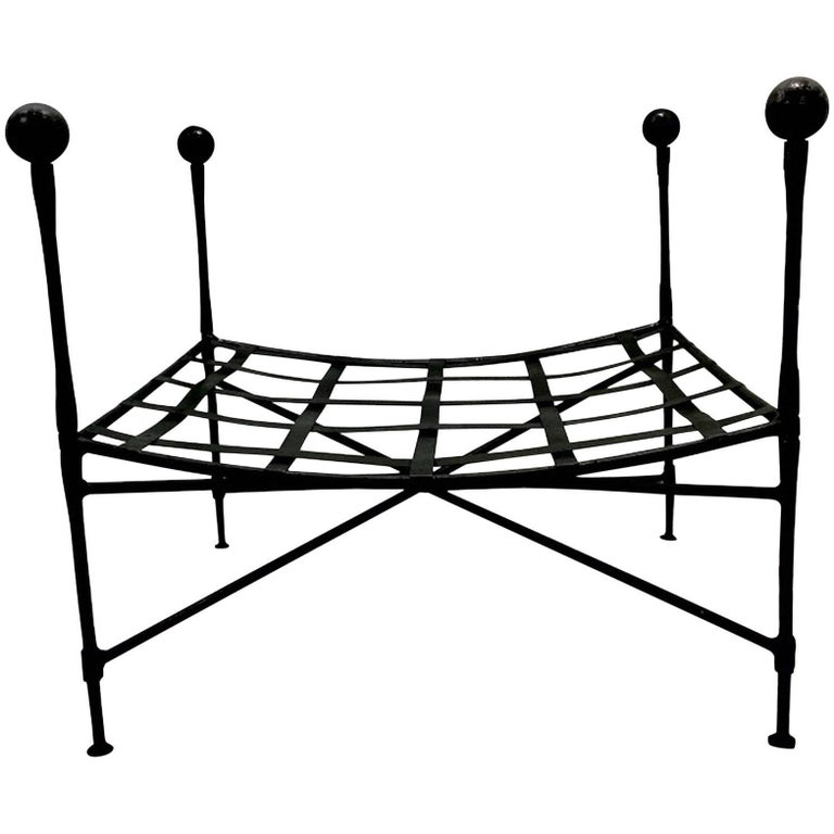 Mario Papperzini for Salterini Italian Wrought Iron Ottoman
