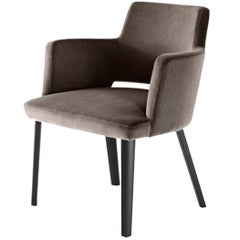 Thea Queen Chair with Upholstered Body and Wood Legs by Gallotti & Radice