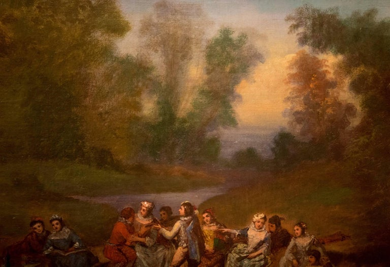 Oil on Canvas Banquet Scene French School, circa 1800 In Good Condition For Sale In Saint Ouen, FR