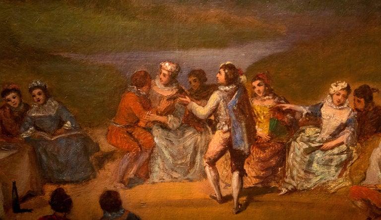 18th Century Oil on Canvas Banquet Scene French School, circa 1800 For Sale