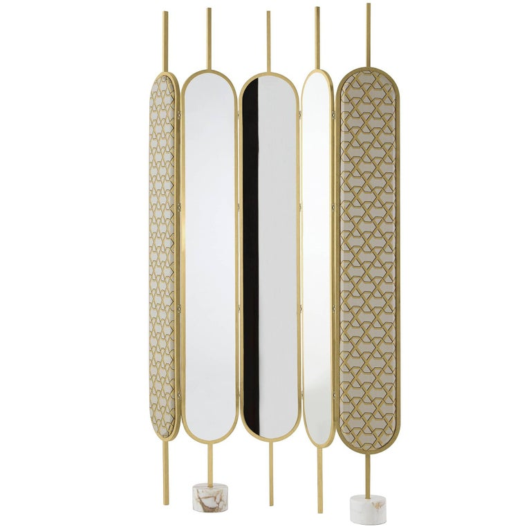 Gallotti & Radice Chloé Screen/Mirror in Brass Finish with Fabric Panels